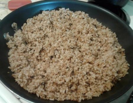 Mushroom Fried Rice in pan