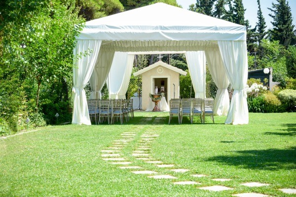 Name ideas for outdoor wedding seating and decorations business an outdoor wedding with seating a large white canopy junglespirit Gallery