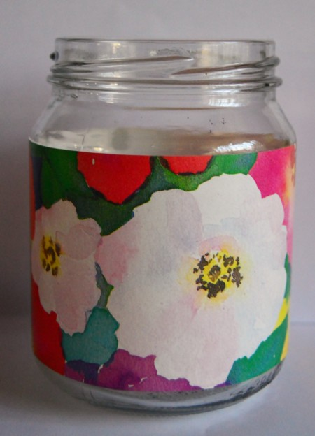 Delightful Jar Teacher's Appreciation Gift - cut and glue gift wrap around the jar and allow to dry