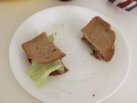 A sandwich made from two bread heels.
