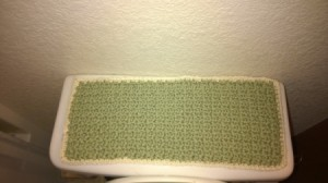 Crochet Toilet Lid Cover and Painted Bathroom Accessories - toilet lid cover