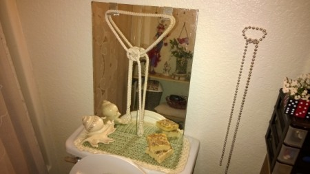 Crochet Toilet Lid Cover and Painted Bathroom Accessories - finished cover with mirror in place