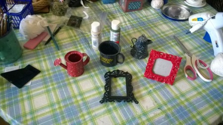 Crochet Toilet Lid Cover and Painted Bathroom Accessories - items to be painted