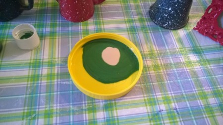 Crochet Toilet Lid Cover and Painted Bathroom Accessories - mixing paint