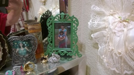 Crochet Toilet Lid Cover and Painted Bathroom Accessories - painted photo frame