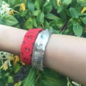Plastic Bottle Bracelets - closeup of two finished bracelets being worn