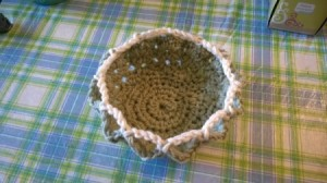 Making a Doily into a Bowl - finished new doily bowl