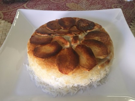 Persian Rice with Potato Tadig on plate