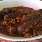Split Pea and Eggplant Stew on plate