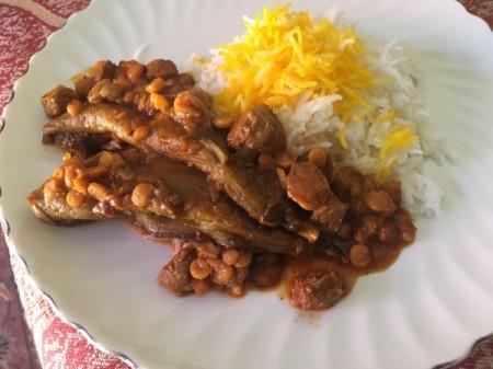 Split Pea and Eggplant Stew served up on plate