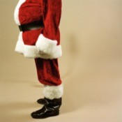 A man wearing a santa suit.