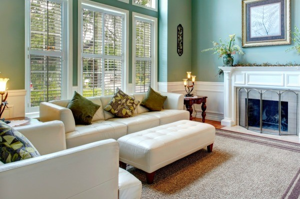 Decorating Living Room with Fireplace, Bookcases, and Windows ...