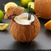 A Hawaiian drink in a coconut.