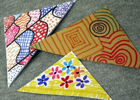 Recycled Envelope Corner Page Bookmarks - three finished bookmarks