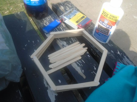 Hexagon Popsicle Stick Shelves - supplies and partially completed shelf
