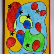 Modern Art Card Project for Kids - completed card with added glitter and stars