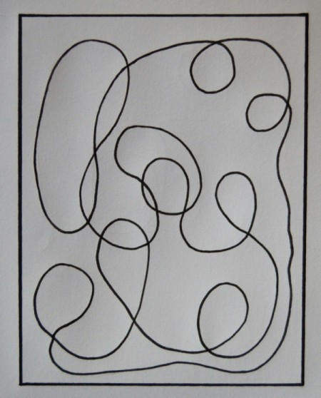 Modern Art Card Project for Kids - use a ruler and pen to trace over the pencil lines