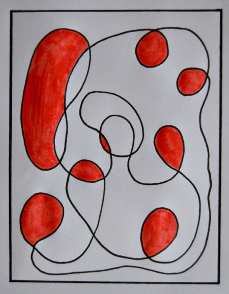 Modern Art Card Project for Kids - use pens to begin coloring in the squiggle lines