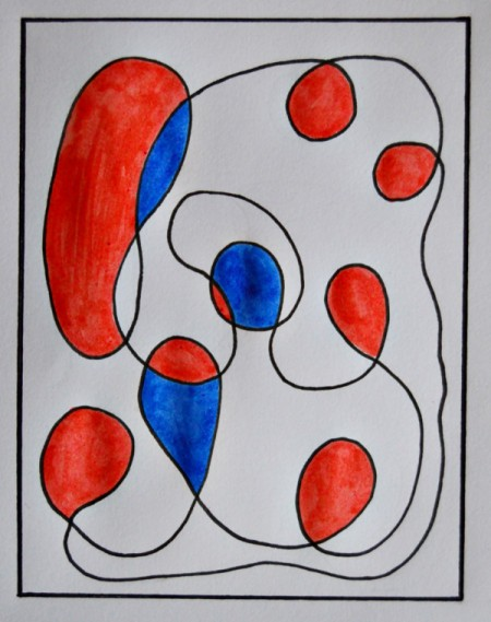 Modern Art Card Project for Kids - adding blue to the red