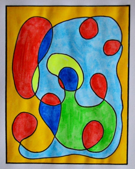 Modern Art Card Project for Kids - squiggle pattern colored