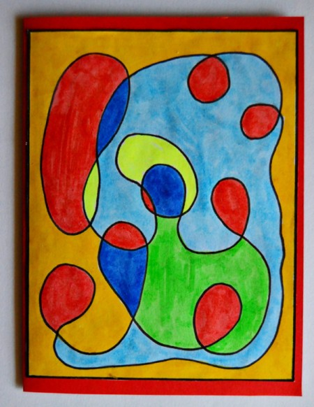 Modern Art Card Project for Kids - glue the squiggle pattern block to the red cardstock