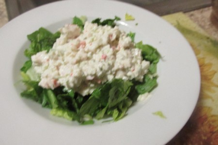 Fresh Crab Meat Salad in a bed of lettuce on plate
