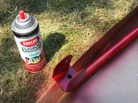 Refinishing a Wooden Playground - painting metal parts