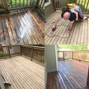 Refinishing a Deck - collage of the project