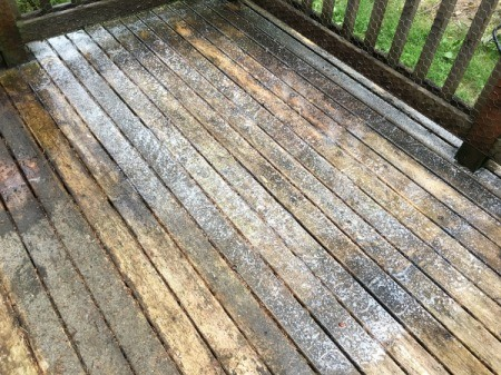 Refinishing a Deck - apply mold and mildew remover