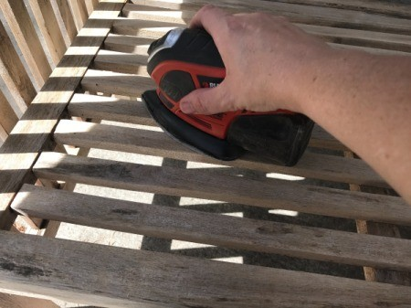 Refinishing Teak Outdoor Furniture - using an electric sander
