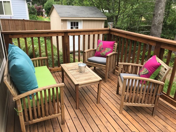 Refinishing Teak Outdoor Furniture - cleaned and oiled furniture on deck - Refinishing Teak Outdoor Furniture ThriftyFun
