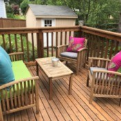 Refinishing Teak Outdoor Furniture - cleaned and oiled furniture on deck