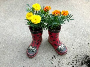 Rubber Boot Planter - planted ladybug boots