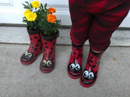 Rubber Boot Planter - new boots and planted boots