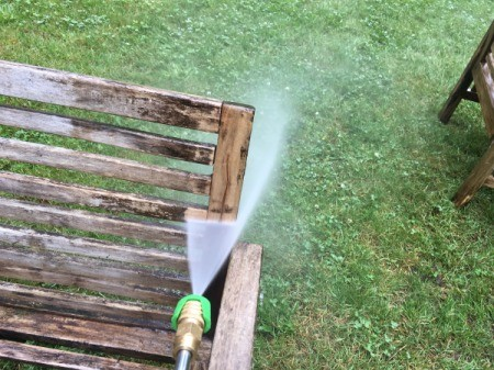 Refinishing Teak Outdoor Furniture - pressure washing