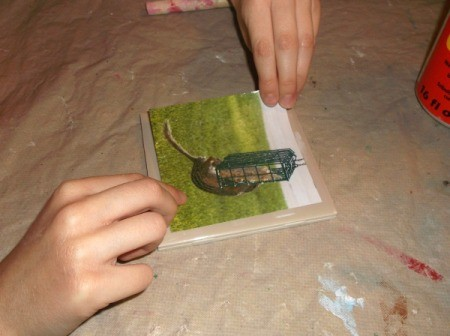 Picture Tile Coasters - putting down picture