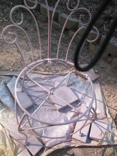 Thrift Store Garden Chair Planter - spray paint chair