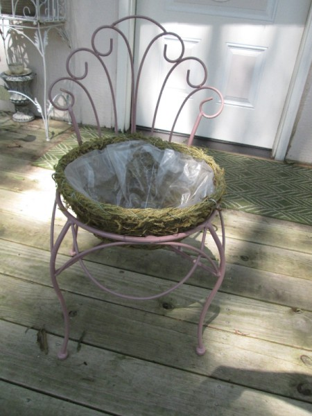 Thrift Store Garden Chair Planter - place hanging basket in to seat opening