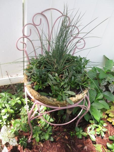 Thrift Store Garden Chair Planter - planted chair basket