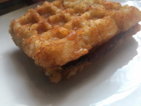 Tater Tot Waffle Grilled Cheese and Bacon Sandwich