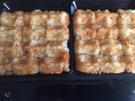 tater tots grilled in waffle iron