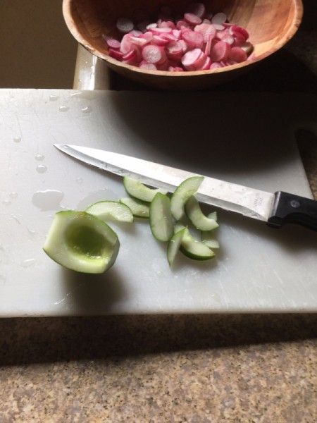 slicing and removing seeds from cucumber