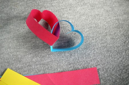 Heart Shaped Paper Chain - two hearts linked together