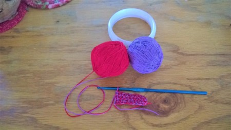 A Bevy of Crochet Bangles - make linen stitch on double thread chain of 10 or size as needed