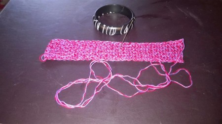 A Bevy of Crochet Bangles - continue crocheting to make a rectangle that will cover bangle