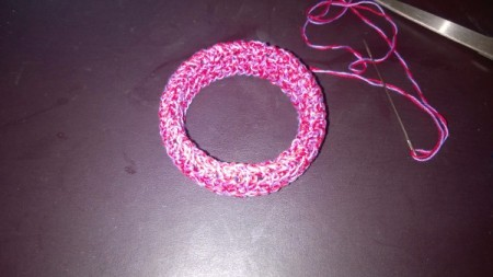 A Bevy of Crochet Bangles - sew up sides, fit should be somewhat tight
