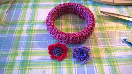 A Bevy of Crochet Bangles - crochet flowers with flower centers