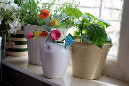 Paper Flower Bouquet - add more flowers in different colors and display in a vase