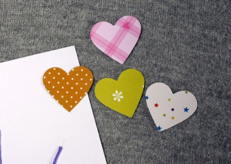 Heart Balloons Greetings Card - cut 4 hearts using the hole punch