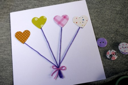 Heart Balloons Greetings Card - glue them in place at the ends of the string